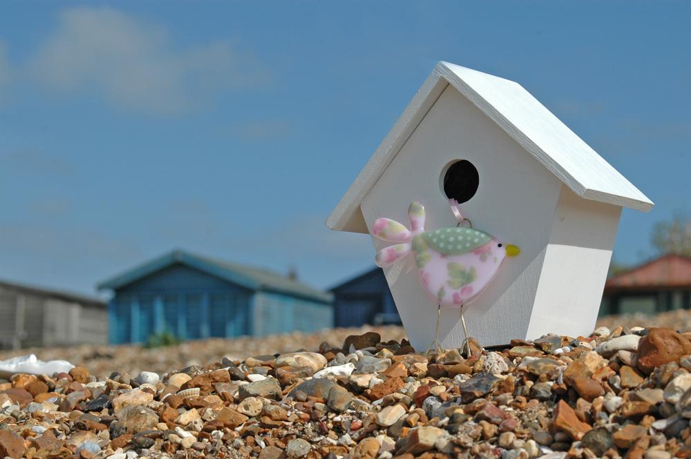 glass bird, whitstable beach