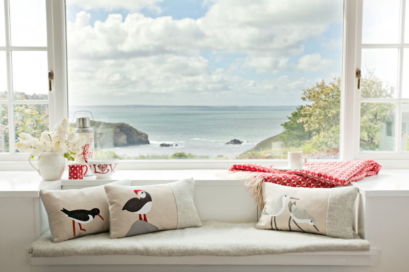 Seaforth Designs, oystercatcher cushions, puffin cushion