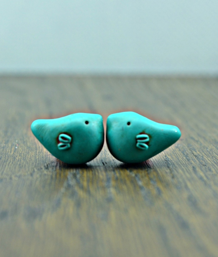 Little bird beads, ceramic beads, handmade beads