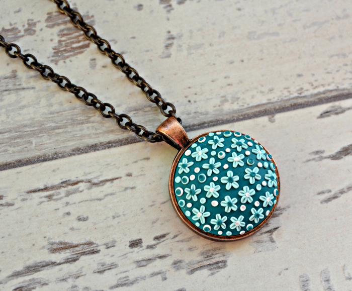 Teal flower necklace