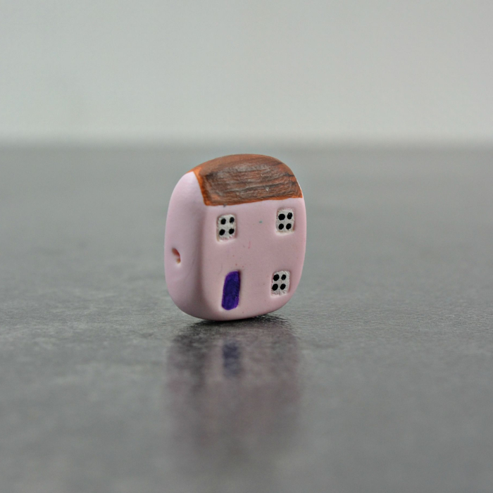 pink cottage bead, ditsy blue beads