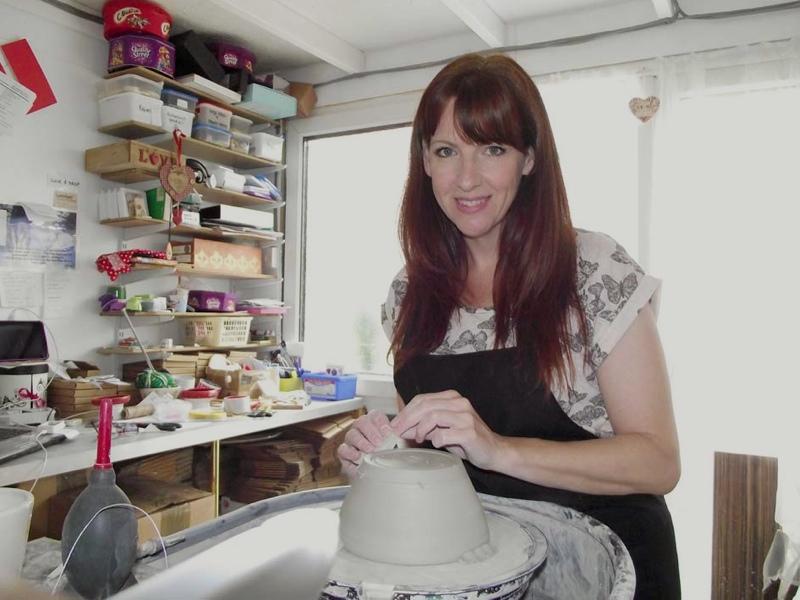Sarah Dukes in her pottery studio