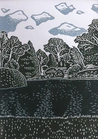 The finished linoprint of Lyme Park