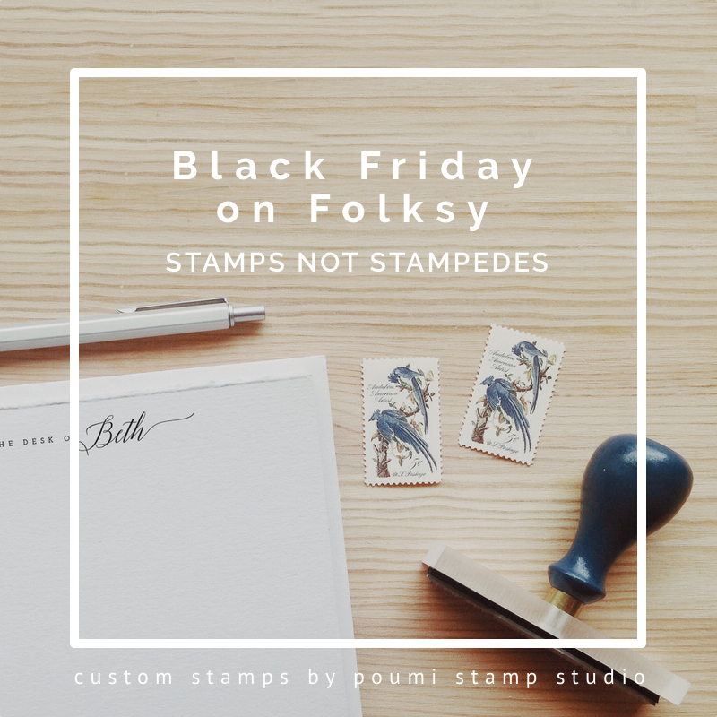 Black Friday, stamps not stampedes, Folksy, stationery, cards, offers
