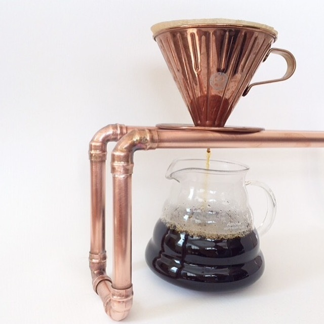 copper coffee dripper, copper coffee stand