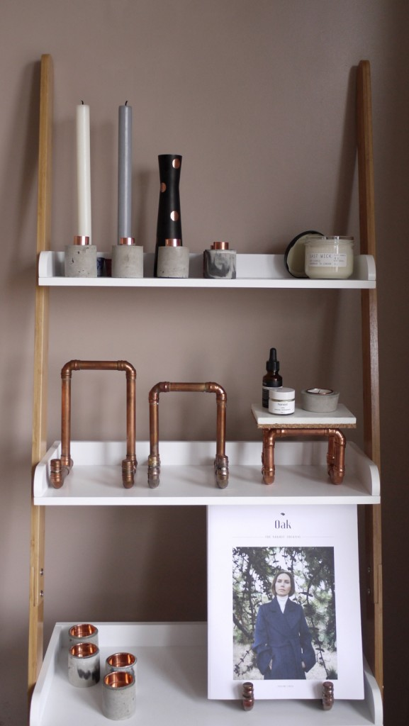 copper and wood shelving, copper ipad stands,