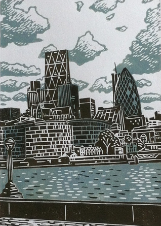 London skyline, lino print, London linoprint, linocut, james green