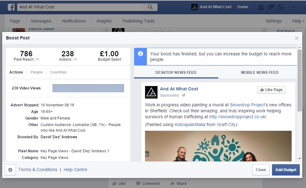 Facebook adverts for craft sellers, Facebook advert reach
