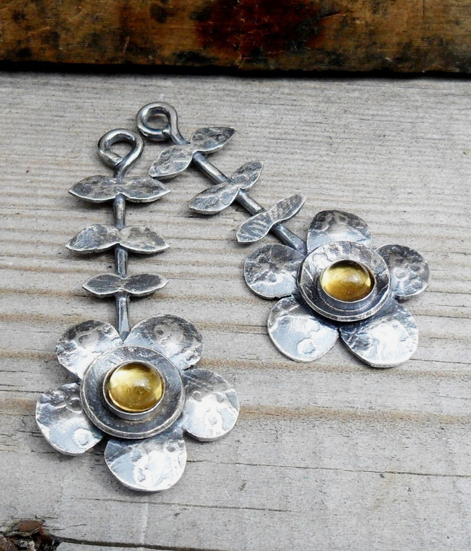 Silver flower earrings, studio jeweller, handmade jewellery, jo walker