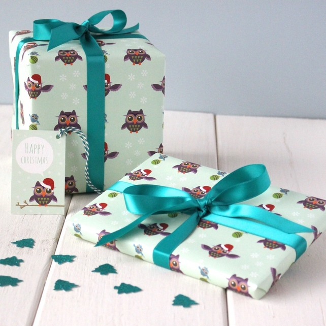 christmas gift wrap with owls
