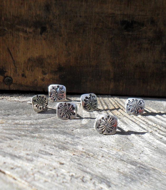 dandelion clock earrings, silver earrings