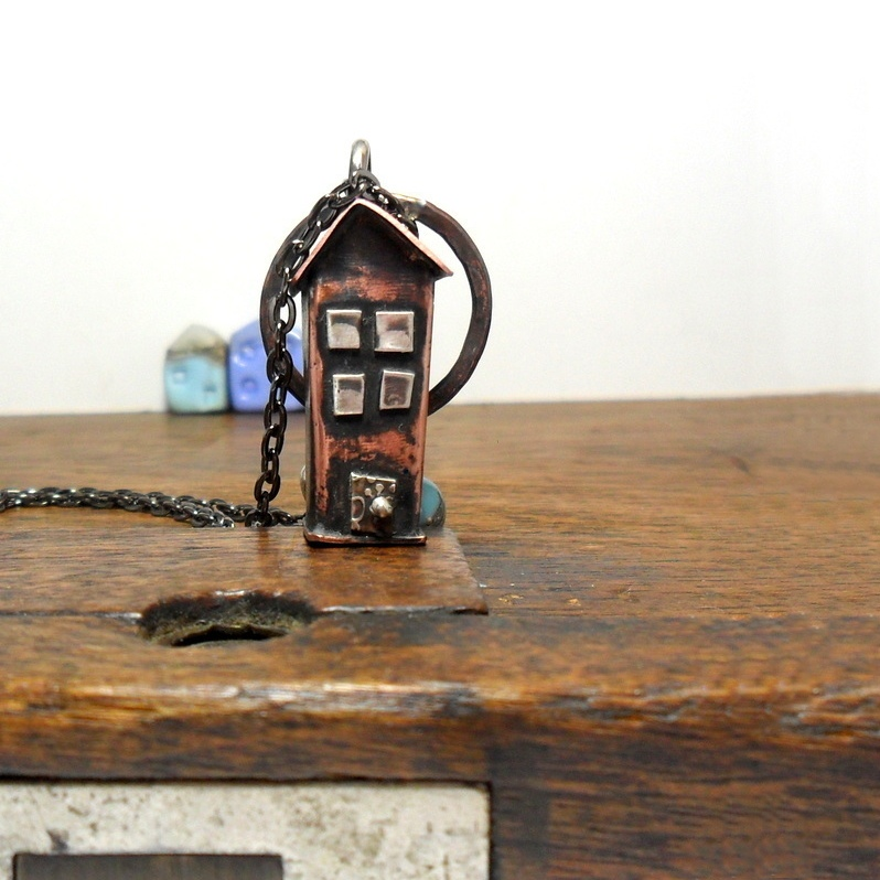 tall house necklace, silver and copper house pendant