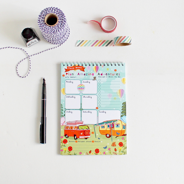 Weekly Planner Notepad, Amazing Adventure, planning tips, artwork by Angie