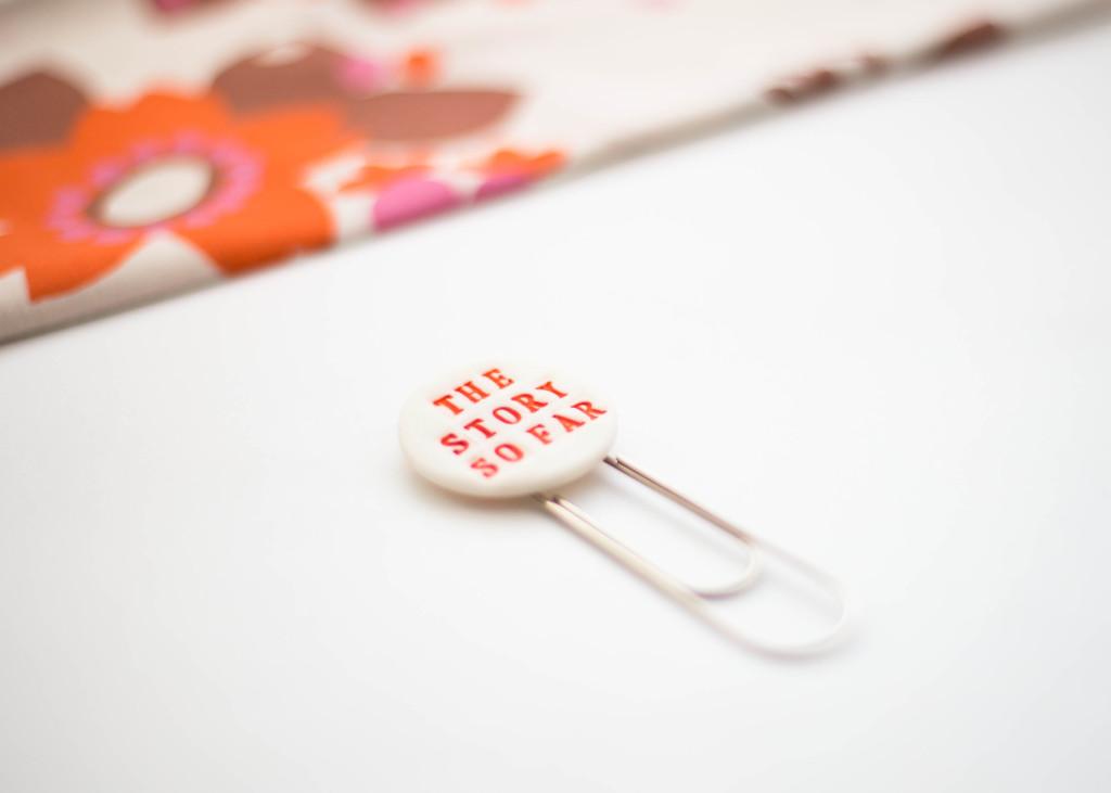 Ceramic bookmark, the story so far, delphine and max