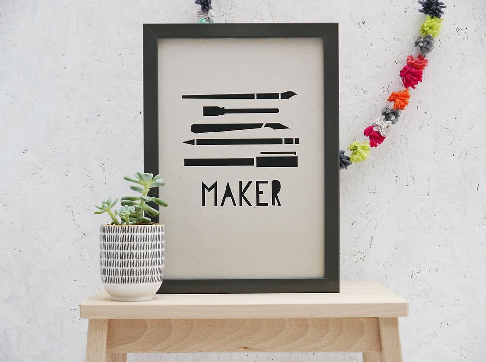 Maker print, Maker art, Maker screenprint, gifts for makers
