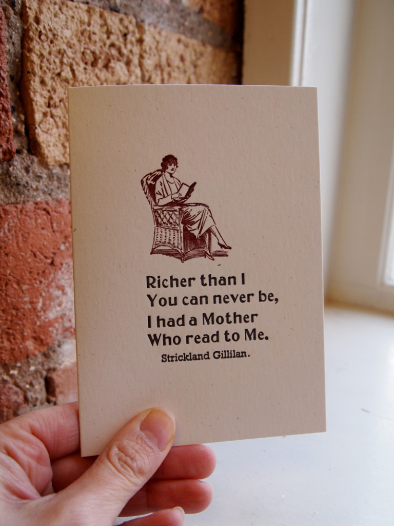 Mother's Day Card, letterpress Mother's Day Card