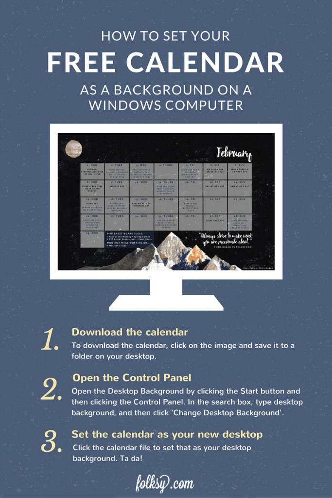 How to use calendar as background on windows computer