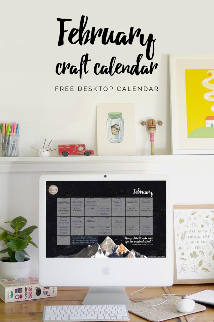 free desktop calendar, craft calendar for February 2016