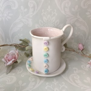 porcelain handmade mug with buttons