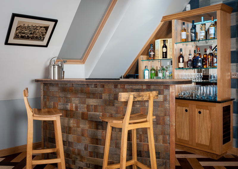 Bespoke bar, Clachan Wood, Scotland