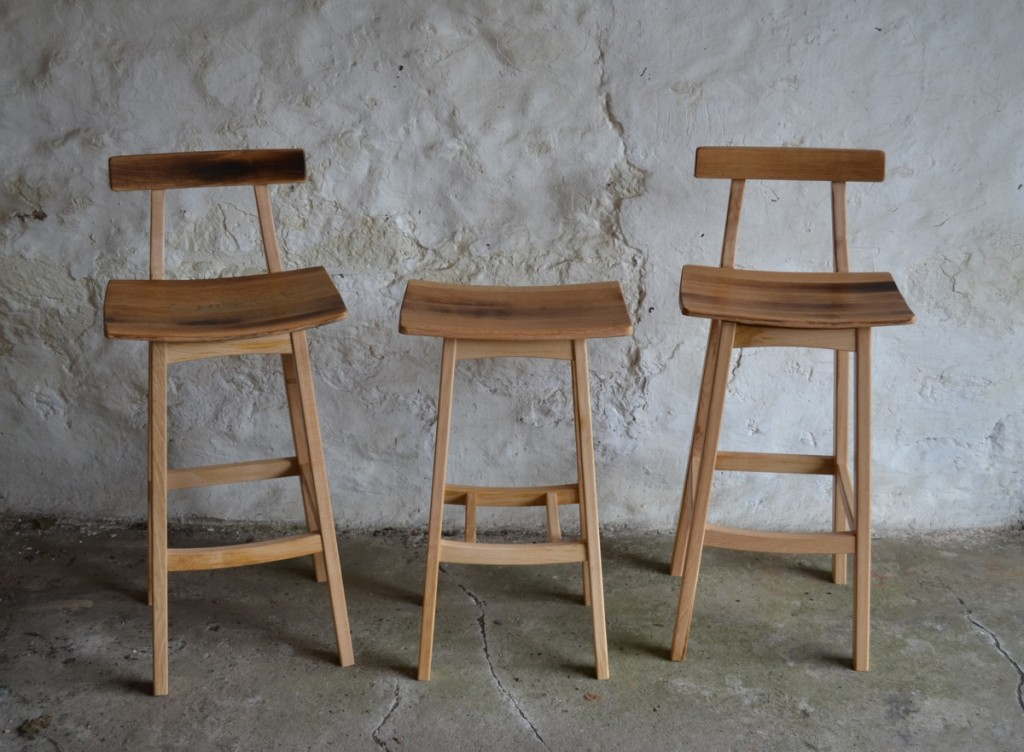 handmade wooden bar stools, Scottish wood, made in Scotland, Clachan Wood
