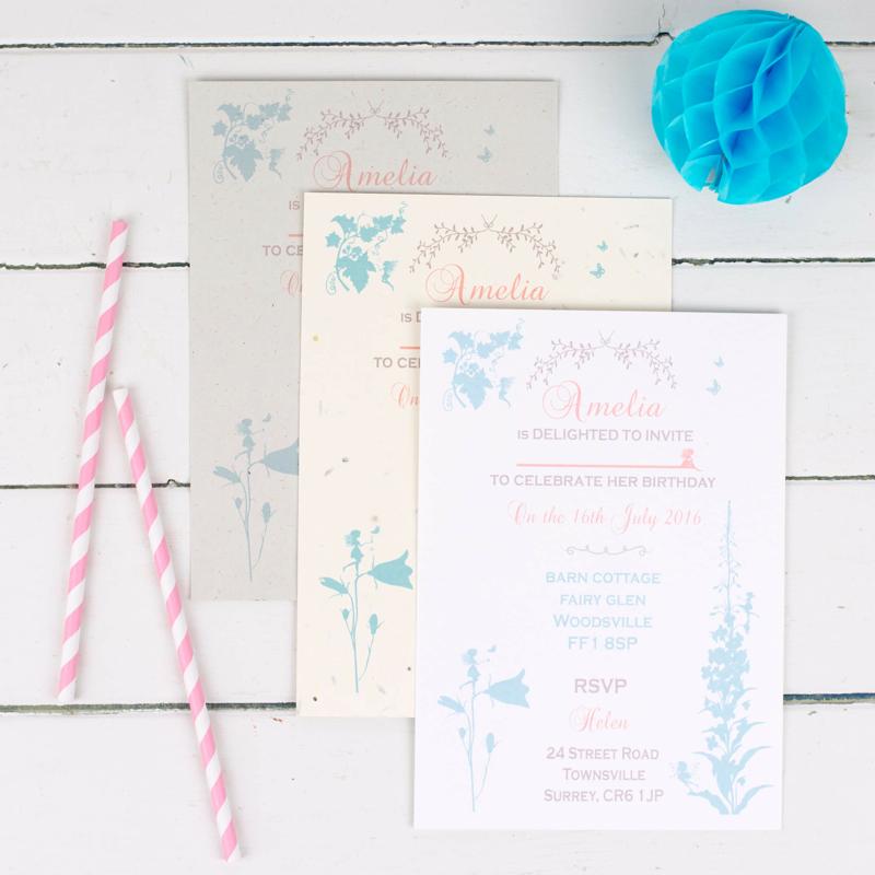 eco friendly fairy party invitations
