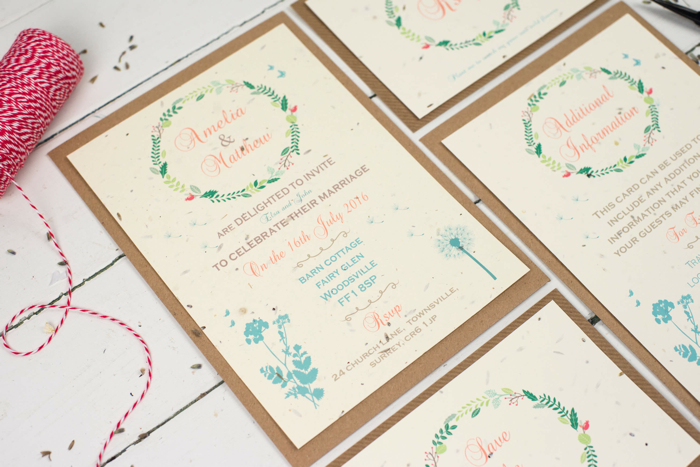 wildflower wedding invitations, eco-friendly wedding stationery