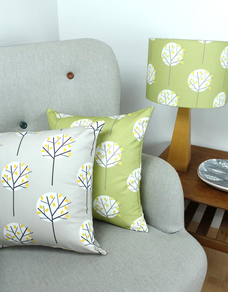 Elderflower cushions, tree fabric, Louise Brainwood