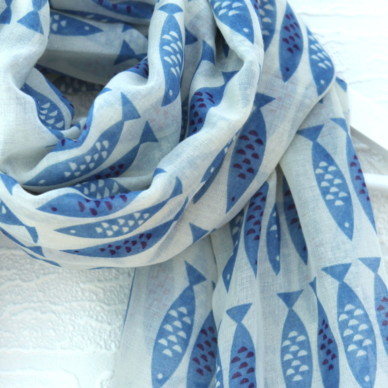 Fish print scarf, Louise Brainwood