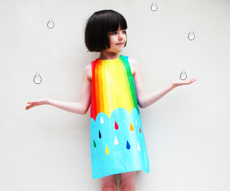 raindrop spectrum dress, rainbow dress, wild things