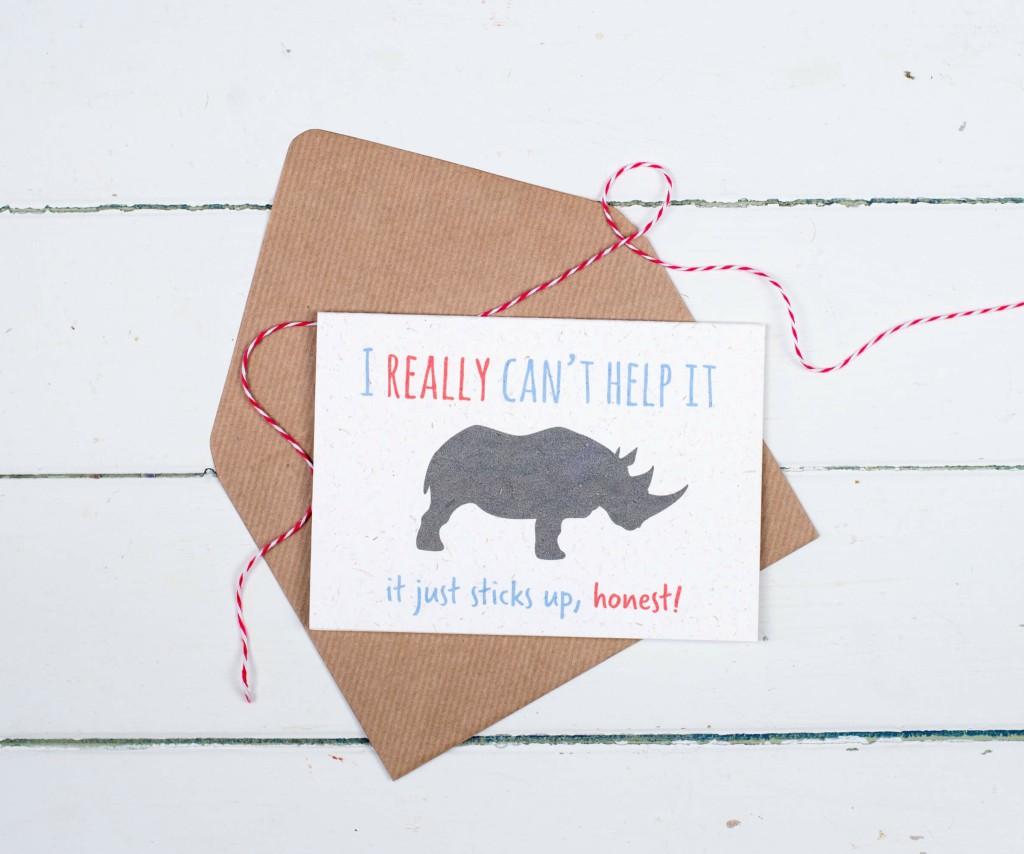 Rhino poo card, rhino dung stationery, rhino birthday card