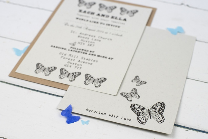 eco-friendly wedding stationery, talk of the town parties, butterfly wedding