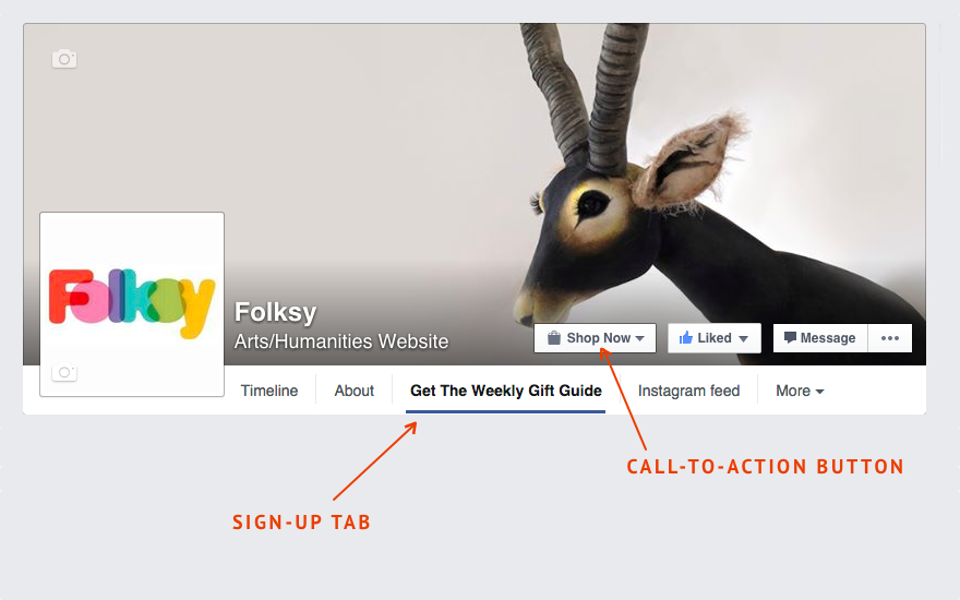 Facebook Sign Up button, Facebook call to action, Mailing list tips for online sellers