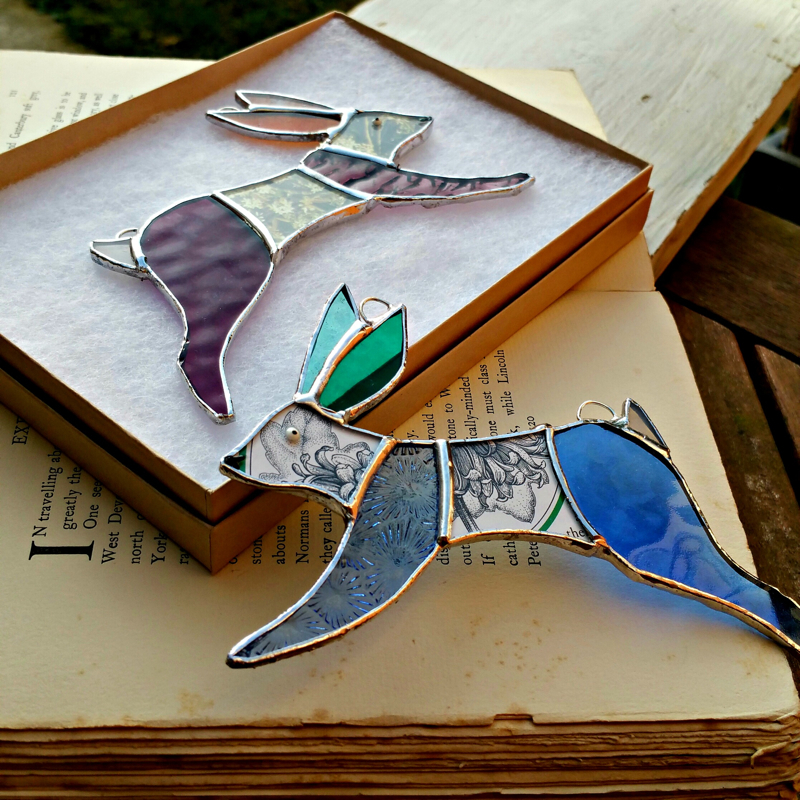 stained glass rabbits, stained glass hares