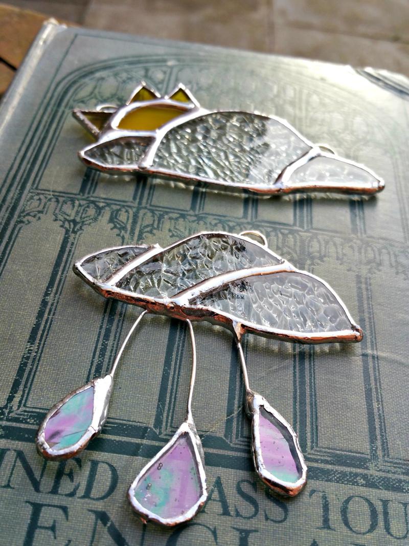 rain and shine suncatcher, stained glass suncatcher