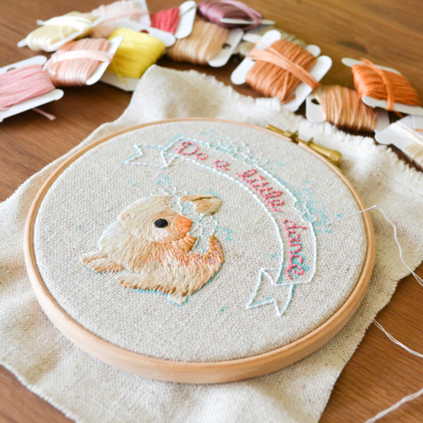 embroidery hoop art, Do A Little Dance, embroidery, embroidery hoops, Korean artist