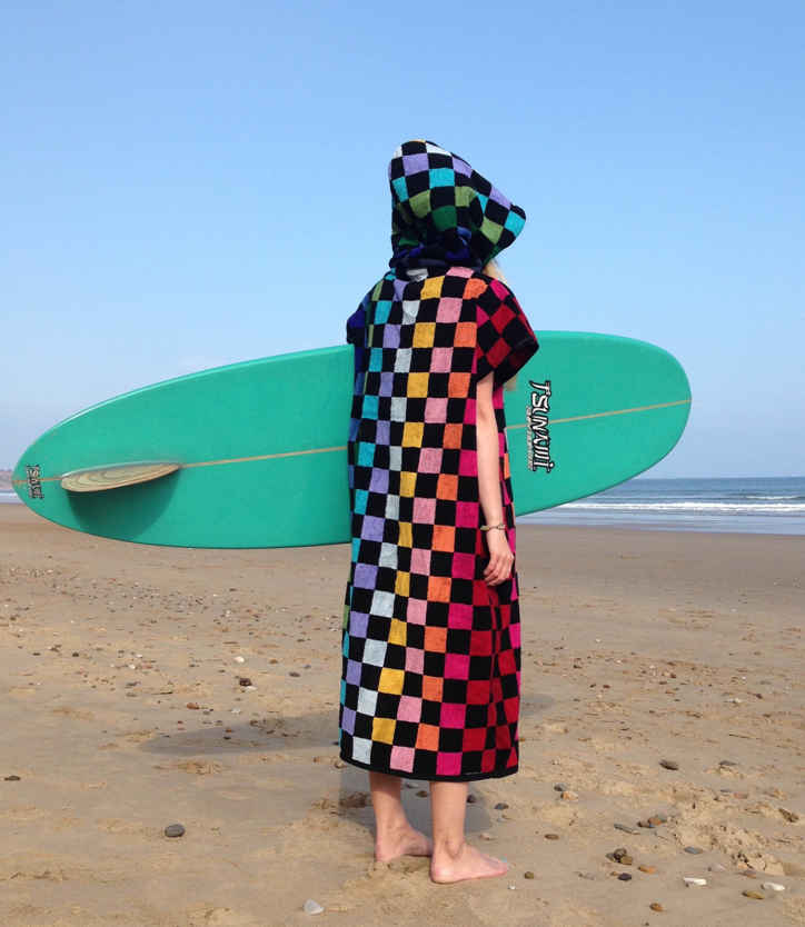 checked surf cover up, cover-up surf, surf poncho, changing towel,