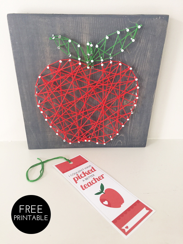 apple string art, thank you gift for teachers