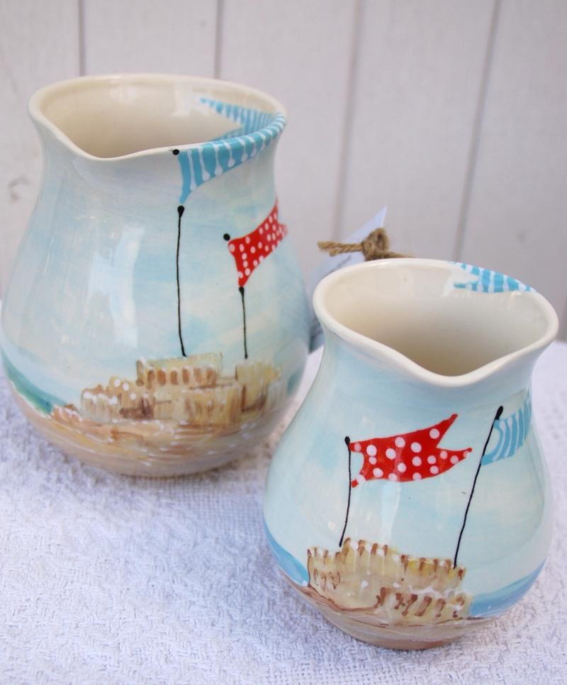 English Seaside Jugs, handmade pottery, Heather Richards,
