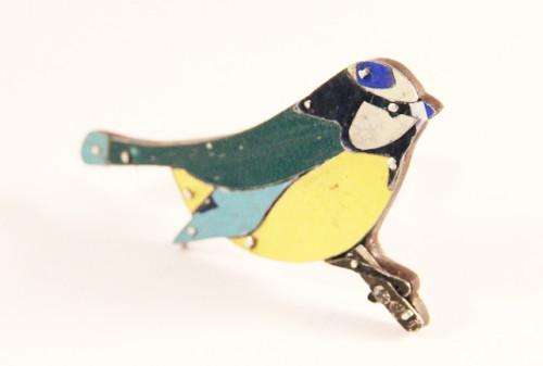 bluetit brooch, sally ayling