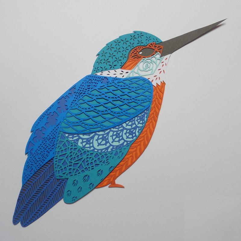 Kingfisher papercut, papercut artist, uk, gemma esprey