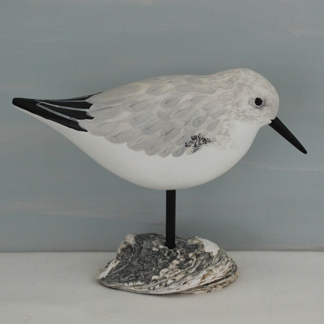 Carved Sanderling on an Oyster Shell by L J Bird Carving