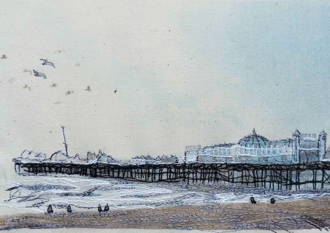 Brighton Pier original textile art with embroidery by Freyelli