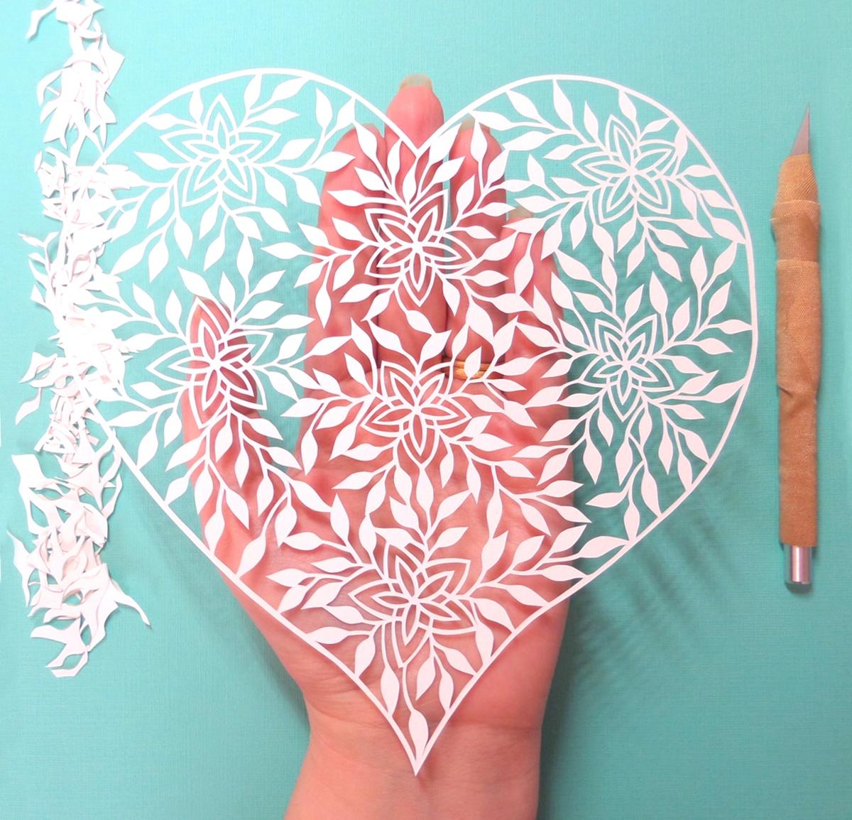 papercut heart, floral papercut, gemma esprey, papercutting, papercut artist, uk