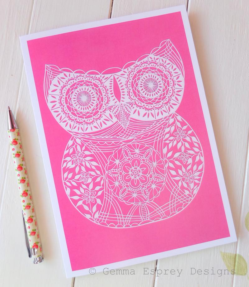 papercut owl, papercut owl card, gemma esprey, papercutting, papercut artist, uk