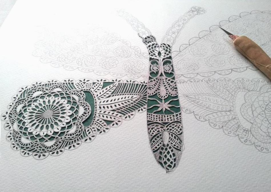 gemma esprey, papercutting, papercut artist, uk, papercut butterfly