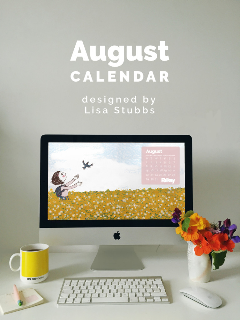 august calendar, free desktop calendar, lisa stubbs, lil sonny sky
