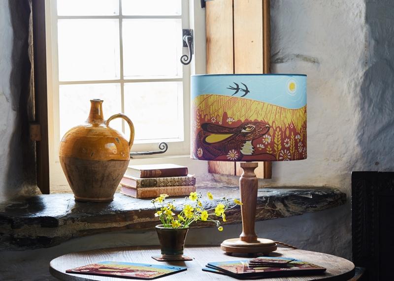 Bear-Print-hare-lampshade, styled product shots, photography tips, bear print designs, hare lampshade, hand printed lampshade