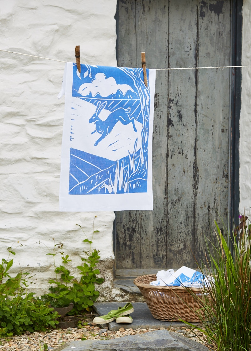 Gloria-Dean-hare-tea-towel, styled product shots, photography tips, gloria dean, screen printed tea towel, hare tea towel