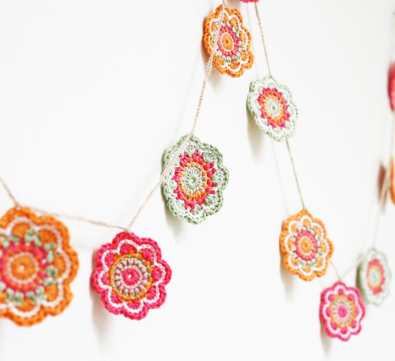 crochet bunting, flower bunting, crochet jewellery, modern crochet, flourish and fly, kate green,